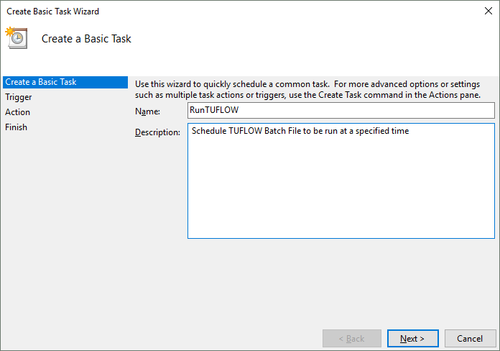 Using Task Scheduler to Run Batch Files - Tuflow